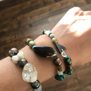 Black Pearl-Crystal Mix Bracelets (3)